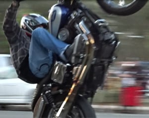 Harley-Davidson wheelie - San Diego motorcycle stunt rider